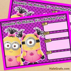 FREE Printable Despicable Me Girl Minion Birthday Invitation
