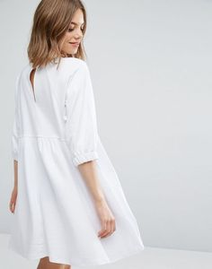 773610f32d Cotton Smock Dress with Elastic Cuff Detail