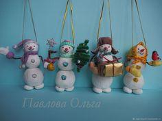 Снеговик из ваты - новогодние елочные игрушки – купить в интернет-магазине на Ярмарке Мастеров с доставкой