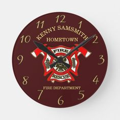 Fire Department Gold And Red Badge With Axes Round Clock firefighter christmas tree, diy fireman gifts, firefighter birthday party #firefightergifts #fireengineer #firemedic, back to school, aesthetic wallpaper, y2k fashion Firefighter Boyfriend, Firefighter Room, Firefighter Birthday, Firefighter Tattoos, Fire Department, Humor, Axe, Aesthetic Wallpapers, Back To School