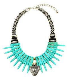 Love this Teal Spike Bib Necklace on #zulily! #zulilyfinds