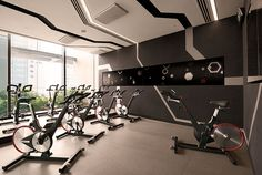 Gravity Gym designed by Hirsch Bedner Associates (HBA). Lighting design by Illuminate. The entire project uses LED sources and complied with Singapore Standard 530 achieving an average of 8.6W/m2 for the front of house.