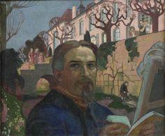 'Self-Portrait With His Family in Front of Their House,' Maurice Denis, Post-Impressionism. Maurice Denis, Paul Gauguin, Pierre Bonnard, Saint Germain, Art Français, Edouard Vuillard, French Artists, Anime Comics, Portrait Art