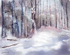 """Snow Sparkled Woods"" - Digital Watercolour, in Snowy Landscapes Selling Art Online, Online Art, Very Nice Images, Snow Pictures, Snow Scenes, Winter Art, Landscape Paintings, Landscapes, Art Market"