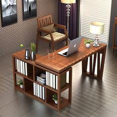 艺格森活 实木书桌 家用台式电脑桌 移动办公组合多功能带书架柜