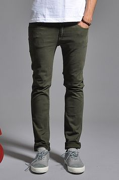Dr Denim Snap Jeans Army Green Light Weight