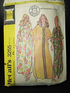 McCall's Pattern #3255, One Size Caftan, Quick And Easy Pattern, 3 Pattern Pieces, Copyright 1972, Vintage Sewing Pattern, Complete by Junkblossoms on Etsy