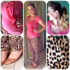 Pink top & Leopard print pants: Forever New. Shoes: Woolies