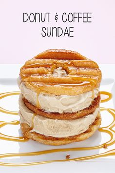 Donut Chips sandwiched in-between coffee ice cream with caramel sauce. #BiteMeMore #IceCream