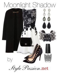 """""""Elegant Night look"""" by ariana-soffici on Polyvore featuring Burberry, Coast, Chanel, Gianvito Rossi, Oscar de la Renta and OPI"""