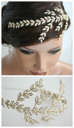 Leaf Wedding Headband Gold Crystal Leaves Side by LuluSplenmimidor, $165.00
