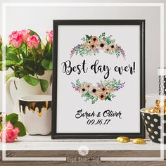 Printable Wedding Sign - Best Day Ever + Names And Date - Personalized Sign Wedding Poster Floral Reception Decor Wedding Decoration