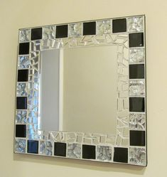 Finished in off white grout with black edge band. Size x Centre mirror x Hanging to back. Mostly Parcelforce U. Mosaic Artwork, Mirror Mosaic, Mosaic Diy, Mirror Tiles, Mosaic Glass, Mosaic Tiles, Mosaic Crafts, Mirrors, Broken Mirror Art