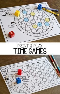 Math games 262334747024803949 - Print and play partner games for telling time to the hour and half hour! These games are easy to play and help students practice their telling time skills on both analog and digital clocks! Teaching Time, Teaching Math, Teaching First Grade, Teaching Resources, Math Classroom, Kindergarten Math, Fun Math, Math Activities, Easy Math