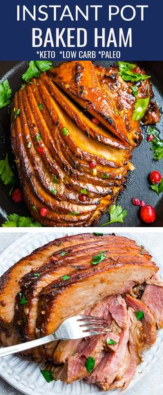 This Slow Cooker Baked Ham recipe is so easy to make in the crock pot with a spiral cut ham. A low carb & keto holiday ham made with a 4 ingredient glaze that's perfect for Easter, Thanksgiving or Chr Slow Cooker Ham Recipes, Pressure Cooker Recipes, Pork Recipes, Casserole Recipes, Healthy Recipes, Potato Recipes, Pasta Recipes, Crockpot Recipes, Vegetarian Recipes