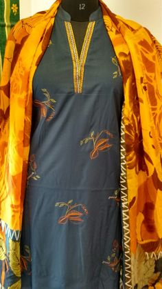 Soft flowy nodal cotton  with embroidery and printed contrast dupatta...With embroidered placket and pants..