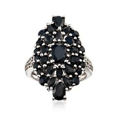 5.00 ct. t.w. Dark Sapphire Cluster Ring With White Topaz in Sterling Silver