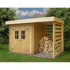 Abri de jardin en bois 5,29m² + plancher + bûcher - madriers 19mm - Maison Facile : www.maison-facile.com