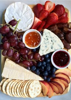 This Fruit and Cheese Board is a guaranteed party-starter at your next get-together. Assemble an assortment of brie, blue cheese, and parmesan with strawberries, blueberries, peaches, grapes, dates, apricot jam, and raspberry jelly to make entertaining guests a breeze.