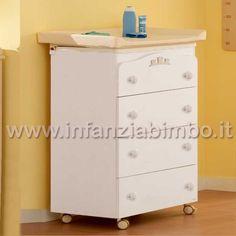 Mibb Cassettiera Fasciatoio Tender 4 Cassetti Bianco