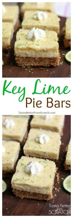 Key Lime Pie Bars Crust: 1 c graham crackers c butter, melted c sugar Filling: 1 can sweetened condensed milk c key lime juice c sour cream 2 egg yolks Cook crust 5 min at Then add filling and cook min at Dessert Simple, Key Lime Desserts, Easy Desserts, Lime Recipes, Sweet Recipes, Lime Squares Recipes, Key Lime Squares, Bar Recipes, Delicious Recipes