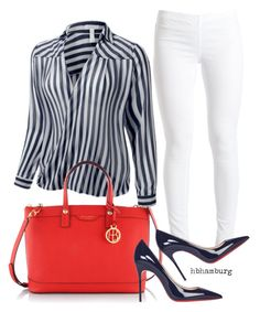 """""""No. 506 - Stripes in Blue"""" by hbhamburg ❤ liked on Polyvore featuring Pieces, Henri Bendel, Christian Louboutin, women's clothing, women, female, woman, misses and juniors"""
