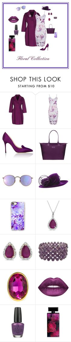 """""""Floral collection"""" by michelechambers ❤ liked on Polyvore featuring Ermanno Scervino, Boohoo, Manolo Blahnik, Lipault, Ray-Ban, Philip Treacy, Casetify, Allurez, Amanda Rose Collection and NOVICA"""