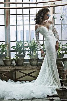 Olga Yermoloff 2017 Long Sleeves Wedding dress. Off shoulder. Long train.