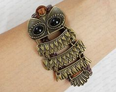 Bronze owl BraceletAntique Vintage Style brwon leater by sky2light, $6.99