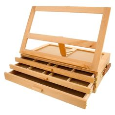 US Art Supply GRAND SOLANA 3-Drawer Adjustable Wooden Storage Box with Fold D... #UsArtSupply