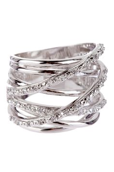 Adam Marc Sterling Silver Smooth & Pave CZ Multi-Row Ring