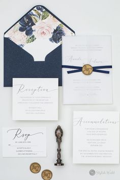 A flowing calligraphy font makes a dramatic statement on this elegant wedding invitations.