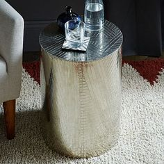 Etched Metal Side Table - Silver #westelm
