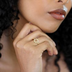 The circle design of this 14k yellow gold ring is embellished with raised spots adding a lovely texture to the open design. A gorgeous contemporary ring which looks great by itself or stacked alongside other delicate rings. Eitherway you will want to wear everyday.
