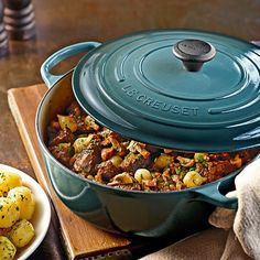 Le Creuset Signature Round Wide Dutch Oven. The perfect addition to the kitchen for fall. Slow, savory cooking and served up beautiful!