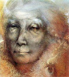 Susan Seddon Boulet - Goddess « Spider Woman » alias The Grandmother - 1994 (ill. from Buffalo Gals, Won't You Come Out Tonight) La Femme araignée est une déesse très importante pour de nombreuses tribus indiennes du Sud-Ouest américain. Bien qu'elle possède un aspect destructeur, elle est presque toujours dépeinte comme une déité bienveillante.