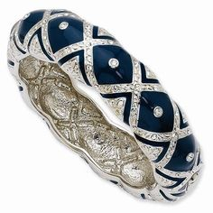 Jackie Kennedy Bracelet  Blue and Silver Bangle by SCLadyDiJewelry