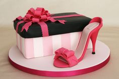 Shoe box and stiletto cake by Lorraine Love Cakes