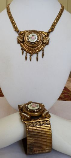 VTG 1930s VICTORIAN REVIVAL ROSE FLOWER ENAMEL FAUX PEARL HUGE NECKLACE BRACELET