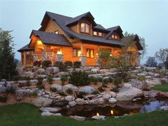 log homes landscaping front entrance pictures | entire front leading to the main entry which is barreled. Large log ...