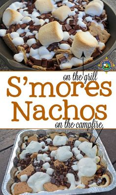 Grilled S'mores Nachos Recipe - Do you love s'mores? Make S'mores Nachos on the grill or over the campfire. camping, camping items, camping site ideas S'mores Nachos Recipe - Do you love s'mores? Make S'mores Nachos on the grill or over the campfire. Grilled Desserts, Köstliche Desserts, Delicious Desserts, Dessert Recipes, Yummy Food, Desserts To Make, Camping Desserts, Camping Dishes, Desserts