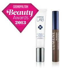 Cosmopolitan Beauty Awards: Lumene LAB Age Preventing Eye Cream & Lumene Blueberry Eyebrow Shaping Wax. #beautyaward #CBA #lumene #lumenelab