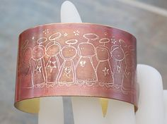 Pin it if you love it!  Adorable mocha latte angels etched brass cuff.  Will make a perfect holiday gift!!  Joann Hayssen SRA  $35.00