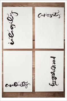 integrity, curiosity, creativity, personality calligraphy prints