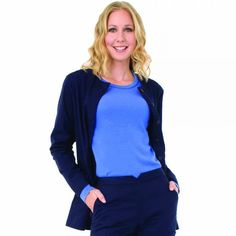 The koi Olivia Lab Coat for women is delightfully shorter than your average lab coat design at or long. shorter length - or Koi Scrubs, Lab Coats, Embroidery Services, Lightweight Jacket, Jacket Style, Deep, Pockets, Navy, Simple