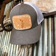 836b8e6c3ec McIntyre Cap - Hand tooled leather patch cap. Natural rectangle patch. Grey  and white