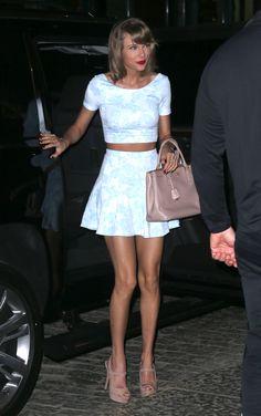 Taylor Swift in Aqua top & Aqua skirt with Prada bag and Prada Peep Toe Slingback Sandals - NYC, May 2015