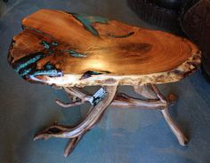 Mesquite with Turquoise Inlay Side Table