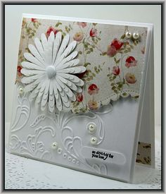 Elegant Lines Embossing Folder.  The Flower was cut using the Silhouette.