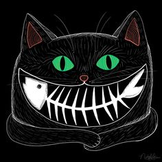 Black Cat - Smile with a Fish Bone in the cats mouth. Illustration by Nichole Lillian. Crazy Cat Lady, Crazy Cats, Gatos Cool, Chesire Cat, Image Chat, Illustration Art, Illustrations, Photo Chat, Popular Art